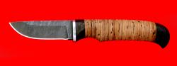 Нож Костромич малый, клинок дамасская сталь, рукоять береста