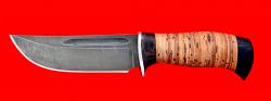 Охотничий нож Зубр-2, клинок дамасская сталь, рукоять береста