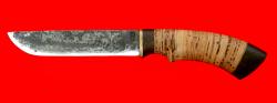 """Охотничий нож """"Грибник-3"""", ручная ковка, клинок сталь 9ХС, рукоять береста"""