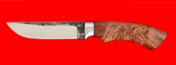 Нож Грибник, клинок сталь 95Х18 со следами ковки, рукоять карельская берёза