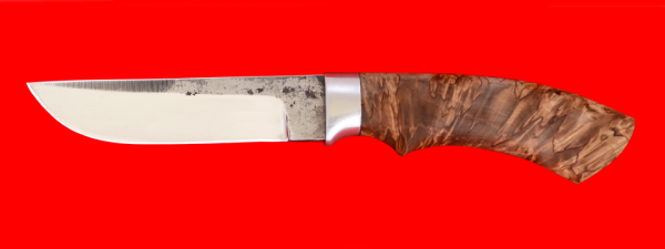 """Охотничий нож """"Грибник"""", клинок сталь K340 со следами ковки, рукоять стабилизированная карельская береза (цвет коричневый)"""