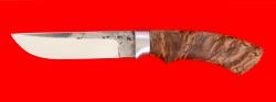 Охотничий нож Грибник, клинок сталь K340 со следами ковки, рукоять стабилизированная карельская береза (цвет коричневый)