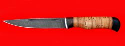 Нож Походный, клинок дамасская сталь, рукоять береста