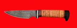 Нож Атаман, клинок дамасская сталь, рукоять береста