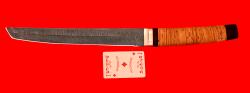 Нож Самурай магнум, клинок дамасская сталь, рукоять береста