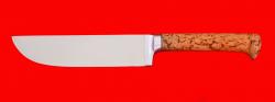 Нож Узбекский, клинок сталь 65Х13, рукоять карельская берёза