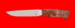 Охотничий нож Леопард, клинок сталь 65Х13, рукоять карельская берёза