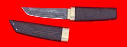 Нож Самурай малый, клинок торцевой дамаск, рукоять венге, деревянный чехол