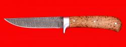 Нож Засапожный №1, цельнометаллический, клинок дамасская сталь, рукоять карельская берёза