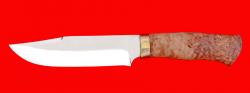 Нож Промысловый большой, клинок порошковая сталь ELMAX, рукоять карельская берёза