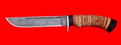 Охотничий нож Тайга, клинок дамасская сталь, рукоять береста