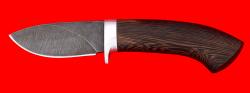 Охотничий нож Лось, клинок дамасская сталь, рукоять венге
