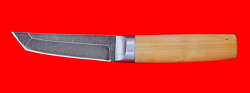 Нож Самурай малый, клинок дамасская сталь, рукоять самшит