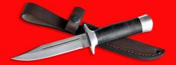 Нож Разведчик, клинок сталь D2, рукоять кожа, металл