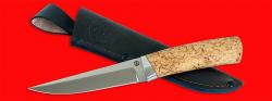 Охотничий нож Секач, клинок порошковая сталь ELMAX, рукоять карельская берёза