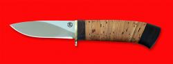 """Охотничий нож """"Сурок"""", клинок порошковая сталь ELMAX, рукоять береста"""