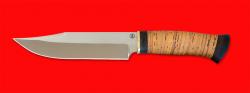 Нож Промысловый большой, клинок порошковая сталь ELMAX, рукоять береста