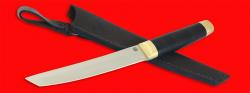 Нож Самурай большой, клинок порошковая сталь ELMAX, рукоять кожа, латунь