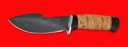 Нож Сплав, клинок дамасская сталь, рукоять береста
