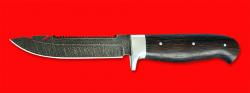 Нож Рыбацкий-3, цельнометаллический, клинок дамасская сталь, рукоять венге