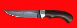 Нож Хищник, клинок дамасская сталь, рукоять венге