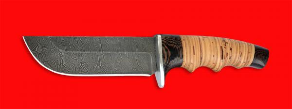 """Нож """"Тигр"""", клинок дамасская сталь, рукоять береста"""