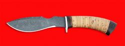 Нож Кабан, клинок дамасская сталь, рукоять береста