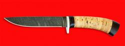 Охотничий нож Абориген, клинок дамасская сталь, рукоять береста