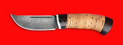 Охотничий нож Хомяк, клинок дамасская сталь, рукоять береста