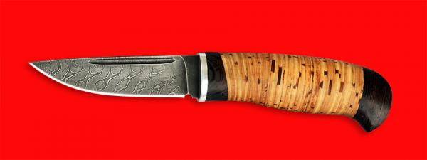 """Охотничий нож """"Карманный"""", клинок дамасская сталь, рукоять береста"""