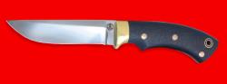 Охотничий нож Грибник, цельнометаллический, клинок порошковая сталь ELMAX, рукоять карбон, фигурные штифты