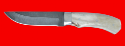 Охотничий нож Бурундук, цельнометаллический, клинок дамасская сталь, рукоять лосиный рог