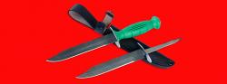 Нож разведчика НР-43 Вишня, разборный, два клинка из дамасской стали, рукоять пластмасса