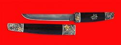Нож Самурай большой, клинок дамасская сталь, рукоять венге, деревянный чехол, мельхиор, позолота