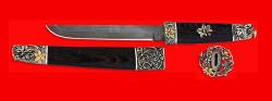 """Разборный нож """"Самурай большой"""", клинок дамасская сталь, рукоять венге, деревянный чехол, мельхиор, позолота"""