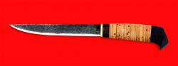 Нож Карелия №3, ручная ковка, клинок сталь 9ХС, рукоять береста
