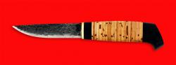 Нож Карелия №1, ручная ковка, клинок сталь 9ХС, рукоять береста