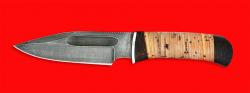 Нож Экстрим, клинок дамасская сталь, рукоять береста