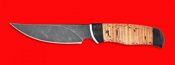 "Нож ""Харза"", клинок дамасская сталь, рукоять береста"