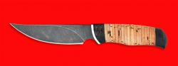 Нож Харза, клинок дамасская сталь, рукоять береста
