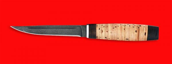 """Нож """"Финка"""", клинок дамасская сталь, рукоять береста"""