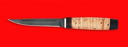 Нож Финка, клинок дамасская сталь, рукоять береста