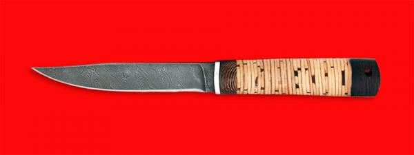 """Нож """"Северянин"""", клинок дамасская сталь, рукоять береста"""
