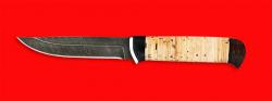Нож Пума, клинок дамасская сталь, рукоять береста