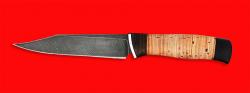 Нож Крым, клинок дамасская сталь, рукоять береста