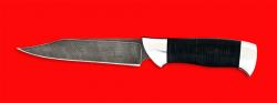 """Нож """"Крым"""", клинок дамасская сталь, рукоять кожа, металл"""