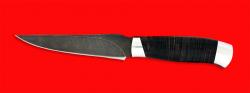 Нож Колыма, клинок дамасская сталь, рукоять кожа, металл