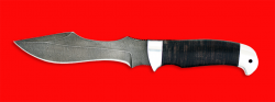 Нож Кайман, клинок дамасская сталь, рукоять кожа, металл