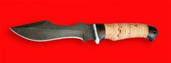 Нож Кайман, клинок дамасская сталь, рукоять береста