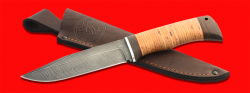 Нож Байкал, клинок дамасская сталь, рукоять береста, с отверстием под темляк (ремешок)